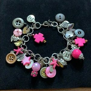 Electic Bracelet - Pinks & Browns & Silver-tone